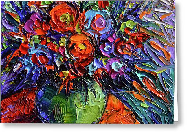 Abstract Floral On Orange Table - Impasto Palette Knife Oil Painting Greeting Card by Mona Edulesco