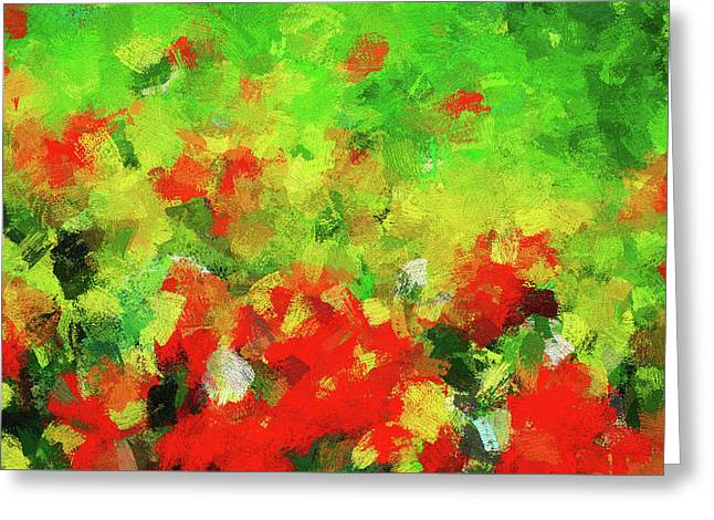 Abstract Floral Painting - Red And Green Greeting Card