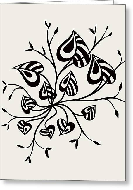 Abstract Floral With Pointy Leaves In Black And White Greeting Card