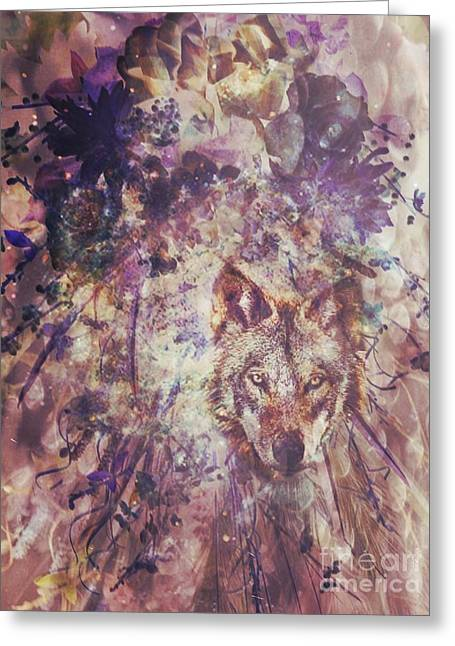 Abstract Floral With Wolf Greeting Card