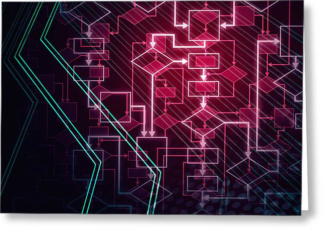 Abstract Flowchart Background Greeting Card by Oleksiy Maksymenko