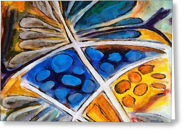 Greeting Card featuring the painting Abstract Flower by Dragica  Micki Fortuna
