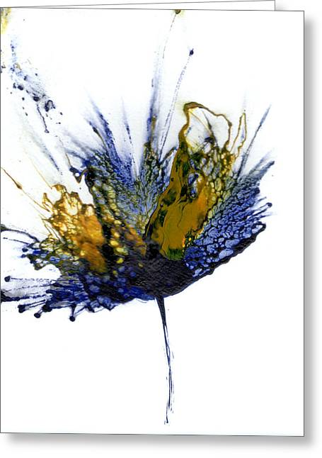 Abstract Flower Navy Blue Yellow 1 Greeting Card by Catherine Jeltes