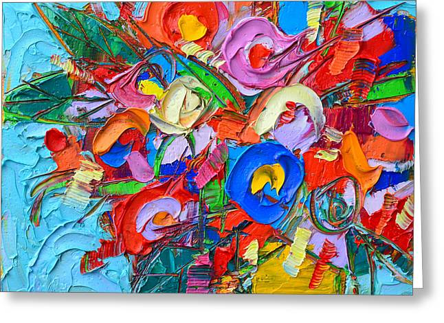 Abstract Flowers Floral Miniature Modern Impressionist Palette Knife Oil Painting Ana Maria Edulescu Greeting Card
