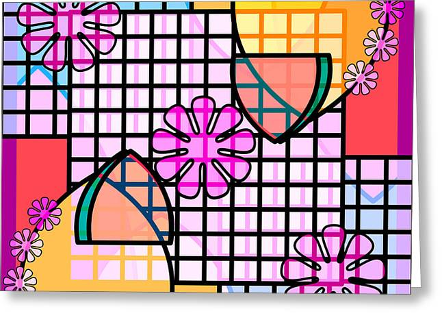 Abstract Flowers, Grids, And Badges In Pink, Blue, Gold Greeting Card by Feami HuX