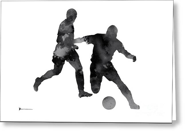 Abstract Football Silhouette Large Poster Greeting Card by Joanna Szmerdt