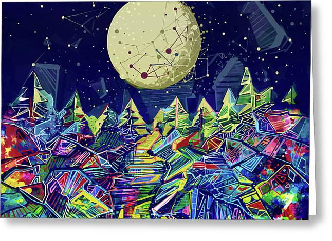 Abstract Forest Greeting Card by Bekim Art