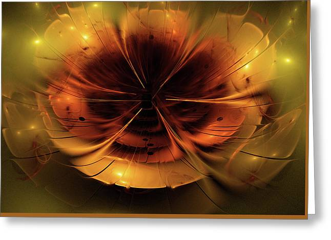 Abstract Fractal Flower Background Greeting Card by StarLineArts