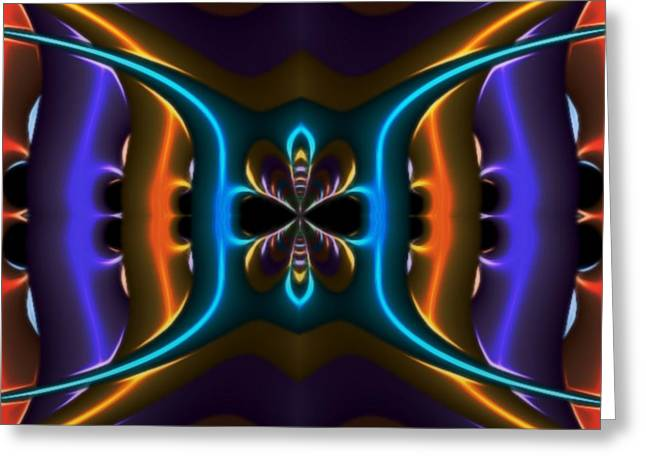 Abstract Fractal Kaleidoscope Butterfly Greeting Card