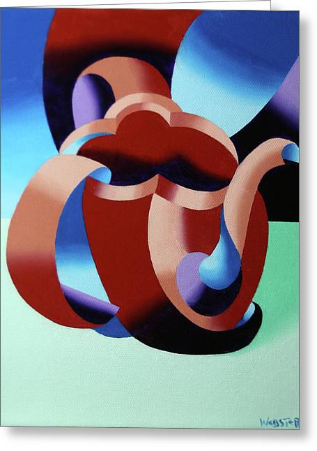 Abstract Futurist Teapot Greeting Card by Mark Webster