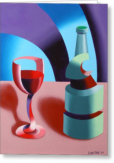 Greeting Card featuring the painting Abstract Futurist Wine And Glass Still Life Oil Painting by Mark Webster