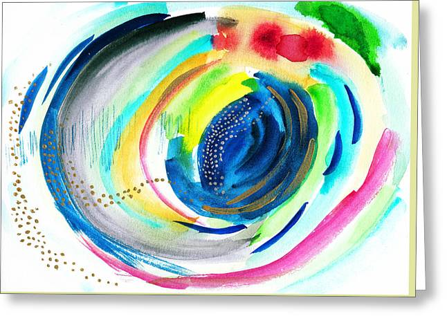 Abstract Galaxy In Watercolor Greeting Card by My Art