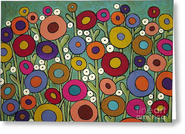 Folk Mixed Media Greeting Cards - Abstract Garden Greeting Card by Karla Gerard