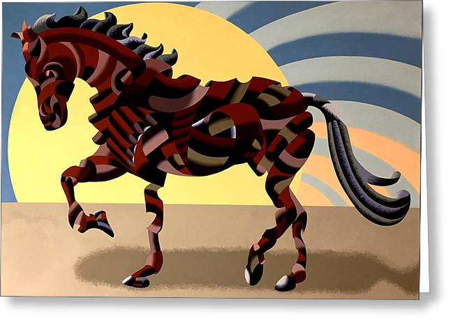 Greeting Card featuring the painting Abstract Geometric Futurist Horse by Mark Webster