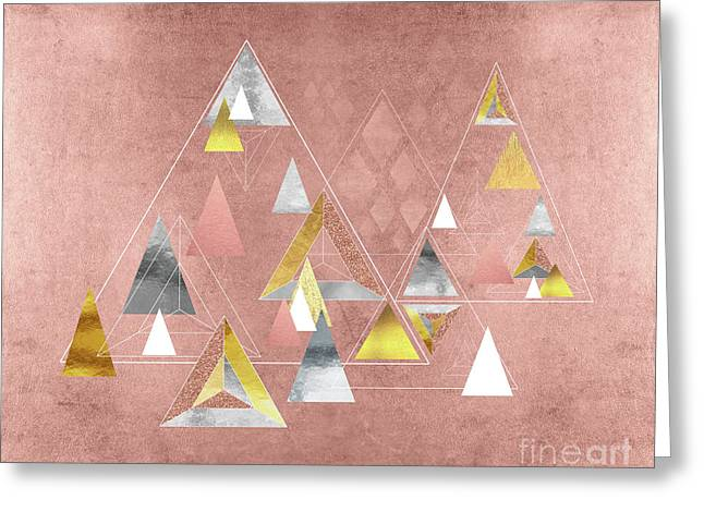 Abstract Geometric Triangles, Gold, Silver Rose Gold Greeting Card by Tina Lavoie