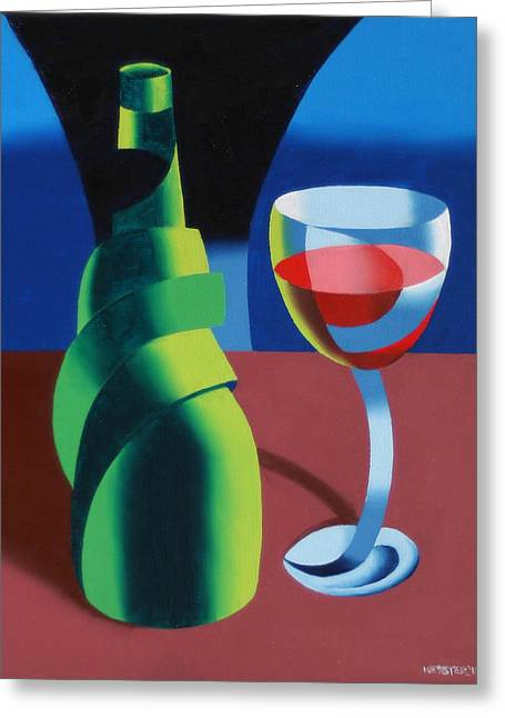 Table Wine Greeting Cards - Abstract Geometric Wine Glass and Bottle Greeting Card by Mark Webster