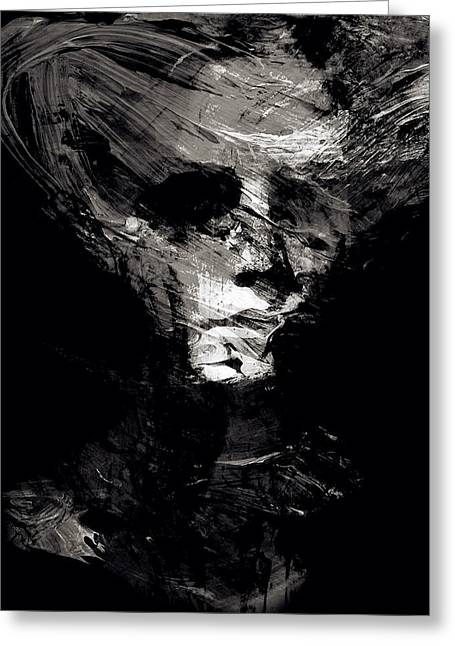 Abstract Ghost Black And White Greeting Card by Marian Voicu