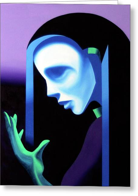 Daily Painter Greeting Cards - Abstract Ghost Mask Greeting Card by Mark Webster