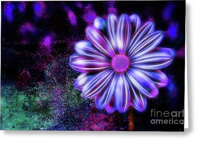 Abstract Glowing Purple And Blue Flower Greeting Card