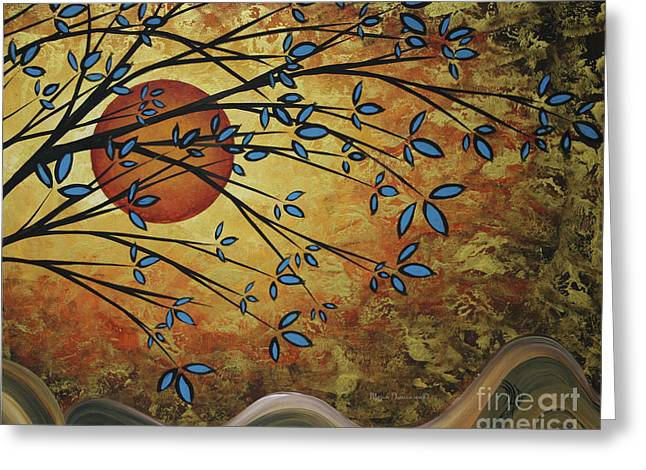 Abstract Golden Landscape Art Original Painting Peaceful Awakening I Diptych Set By Megan Duncanson Greeting Card by Megan Duncanson