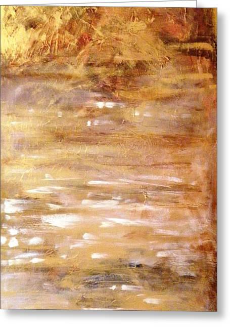 Abstract Golden Sunrise Beach  Greeting Card
