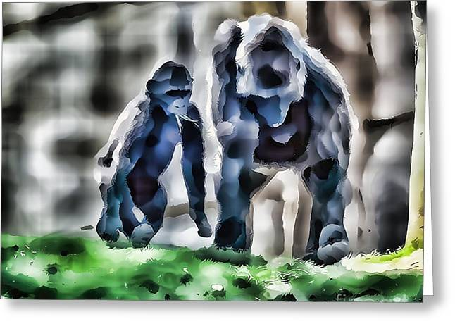 Abstract Gorilla Family Greeting Card