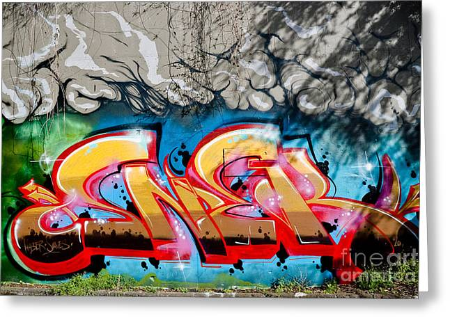 Aerosol Paintings Greeting Cards - Abstract Graffiti fragment on the textured wall Greeting Card by Yurix Sardinelly