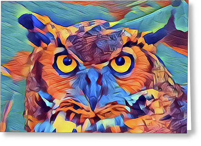 Abstract Great Horned Owl Greeting Card