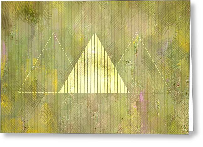 Abstract Green And Gold Triangles Greeting Card by Brandi Fitzgerald