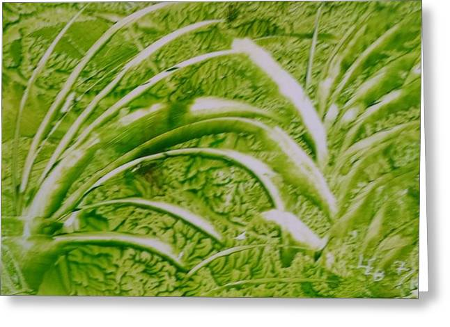 Abstract Green And White Leaves And Grass Greeting Card