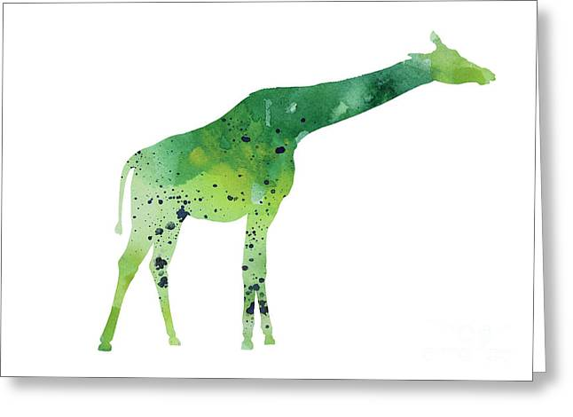 Abstract Green Giraffe Minimalist Painting Greeting Card