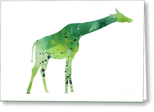 Abstract Green Giraffe Minimalist Painting Greeting Card by Joanna Szmerdt