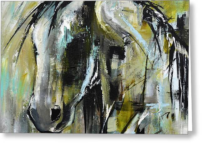 Greeting Card featuring the painting Abstract Green Horse by Cher Devereaux