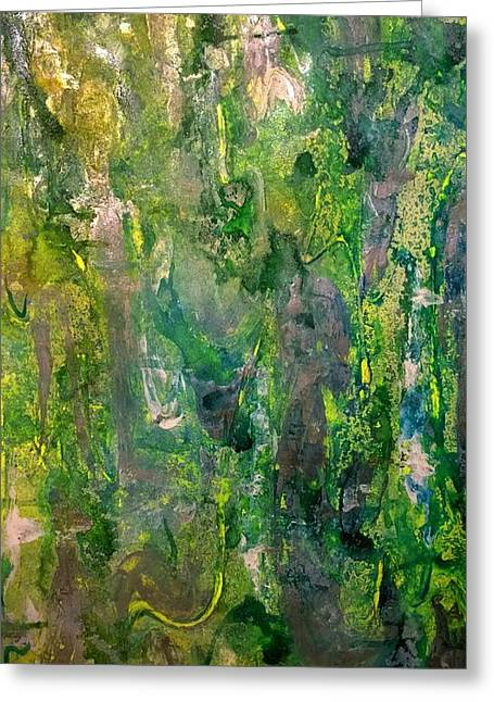 Abstract Green Metallic Greeting Card by Darla J Bower Oder
