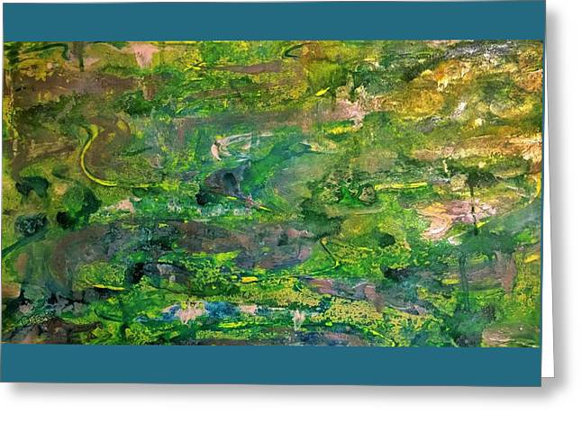 Abstract Green Metallic Horizontal Greeting Card by Darla J Bower Oder