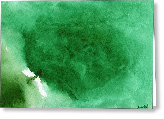 Abstract Green Greeting Card by Sean Seal
