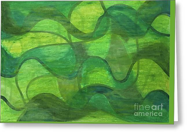 Abstract Green Wave Connection Greeting Card