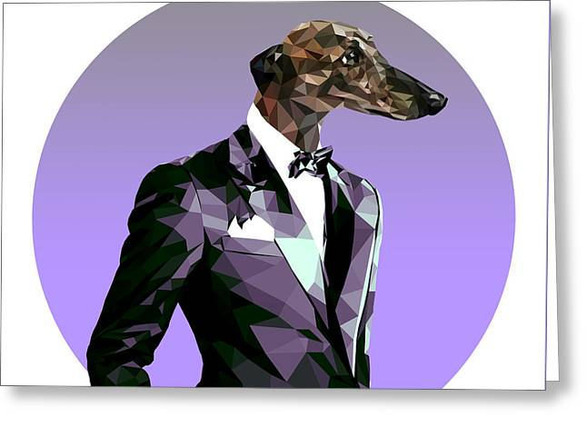 Abstract Greyhound 2 Greeting Card by Gallini Design