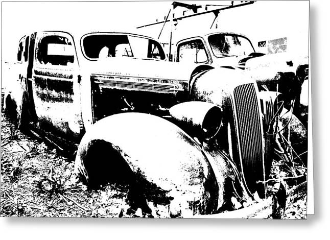 Abstract High Contrast Old Car Greeting Card by MIke Loudemilk