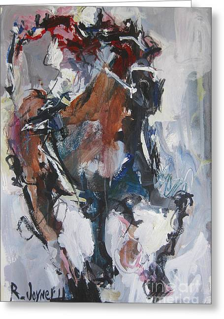 Greeting Card featuring the painting Abstract Horse Racing Painting by Robert Joyner