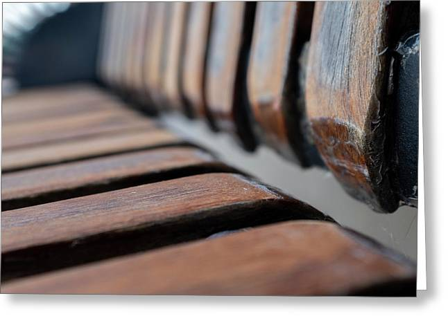 Abstract Image Of A Park Bench Near The Water In Green Bay Wisconsin Greeting Card
