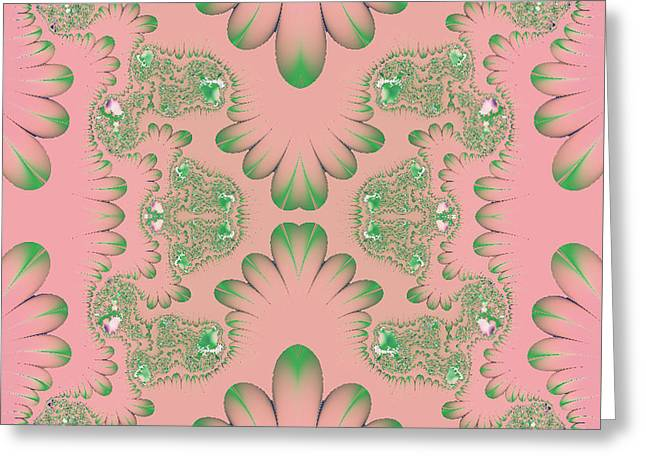 Greeting Card featuring the digital art Abstract In Pink And Green by Linda Phelps