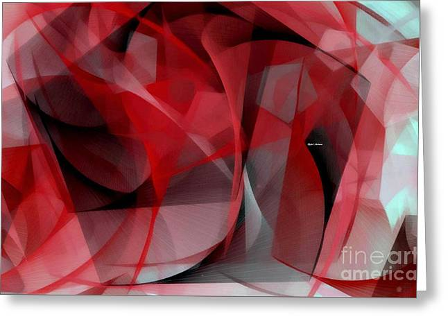 Greeting Card featuring the digital art Abstract In Red Black And White by Rafael Salazar
