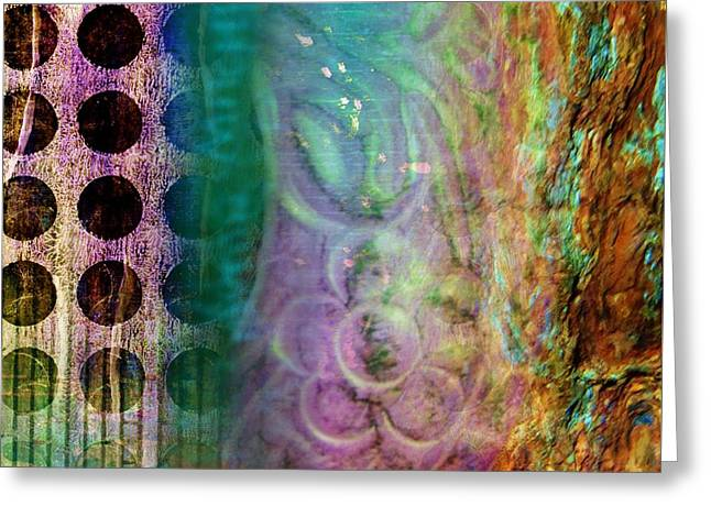 Abstract In Teal And Plum Greeting Card by Desiree Paquette