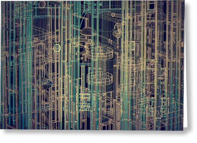 Abstract Industrial And Technology Background Greeting Card by Michal Bednarek