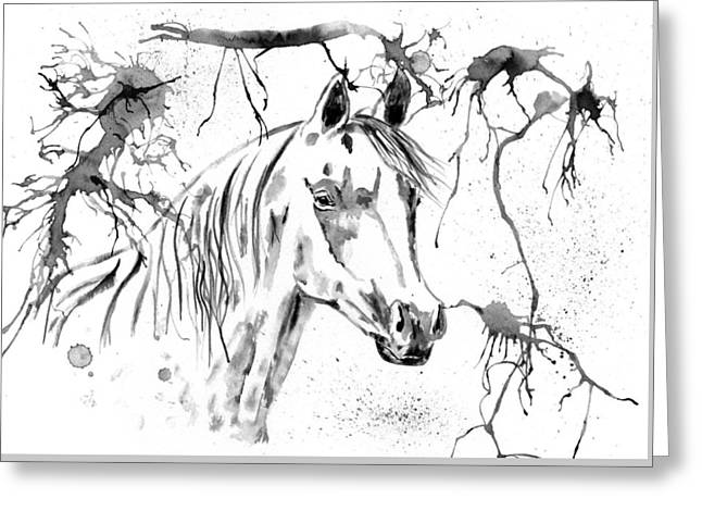 Abstract Ink - Black And White Arabian Horse Greeting Card by Michelle Wrighton