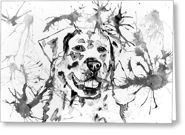 Abstract Ink - Golden Retriever In Black And White Greeting Card by Michelle Wrighton
