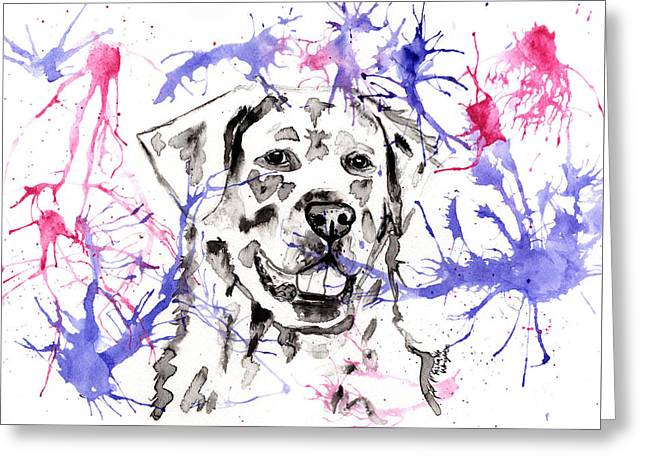 Abstract Ink - Golden Retriever Greeting Card by Michelle Wrighton