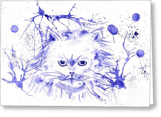 Abstract Ink - Purple Persian Greeting Card by Michelle Wrighton