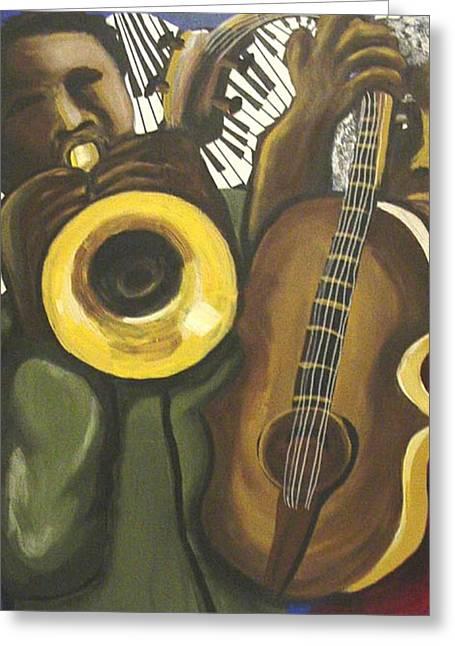 Abstract Jazz Duo Greeting Card by Renie Britenbucher